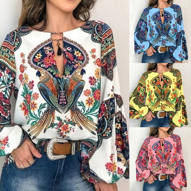 2019 Casual Vintage Shirt Blouse Women Floral Printed Lantern Sleeve Plus Size Women Tops And Blouse V Neck Blusas Mujer De Moda 2