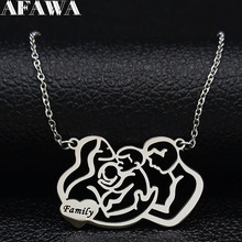 2019 Family Dad Mum and Two Baby Stainless Steel Chain Necklace Women Silver Color Statement Necklace Jewelry colgante N19322 2019 family stainless steel necklace women jewlery silver color dad mum and son statement necklace jewelry gargantilla n18018