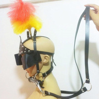 Leather Head Harness Women Bdsm Bondage Hood With Dog Bite Silicone Bone Plug Gag Set Adult Sex Games Fetish Toys