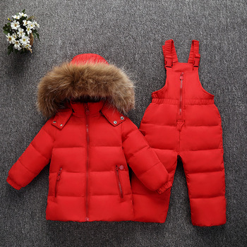 2019 Winter Suit for Girls Fur Hoodie Warm Down Jackets Overalls Kids Clothes Boys Sport Snow Children Clothing Sets Costume