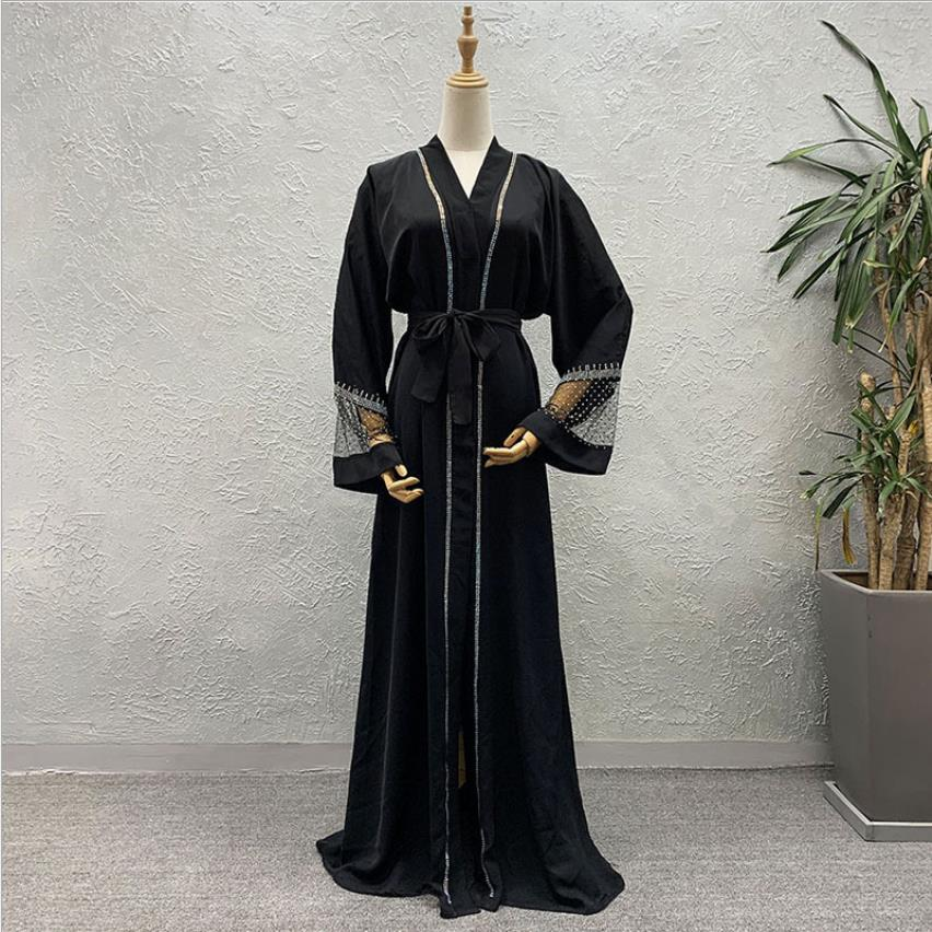Muslim Diamond Beading Opened Abayas Muslim Abaya Female Full Length Prayer Kimono Islamic Cardigan Robes With Belt F1517