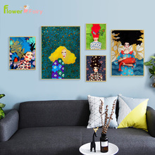 Abstract Girl Hair Flower Bird Wall Art Canvas Painting Leaf Fish Nordic Poster Vintage Pictures For Living Room Unframed