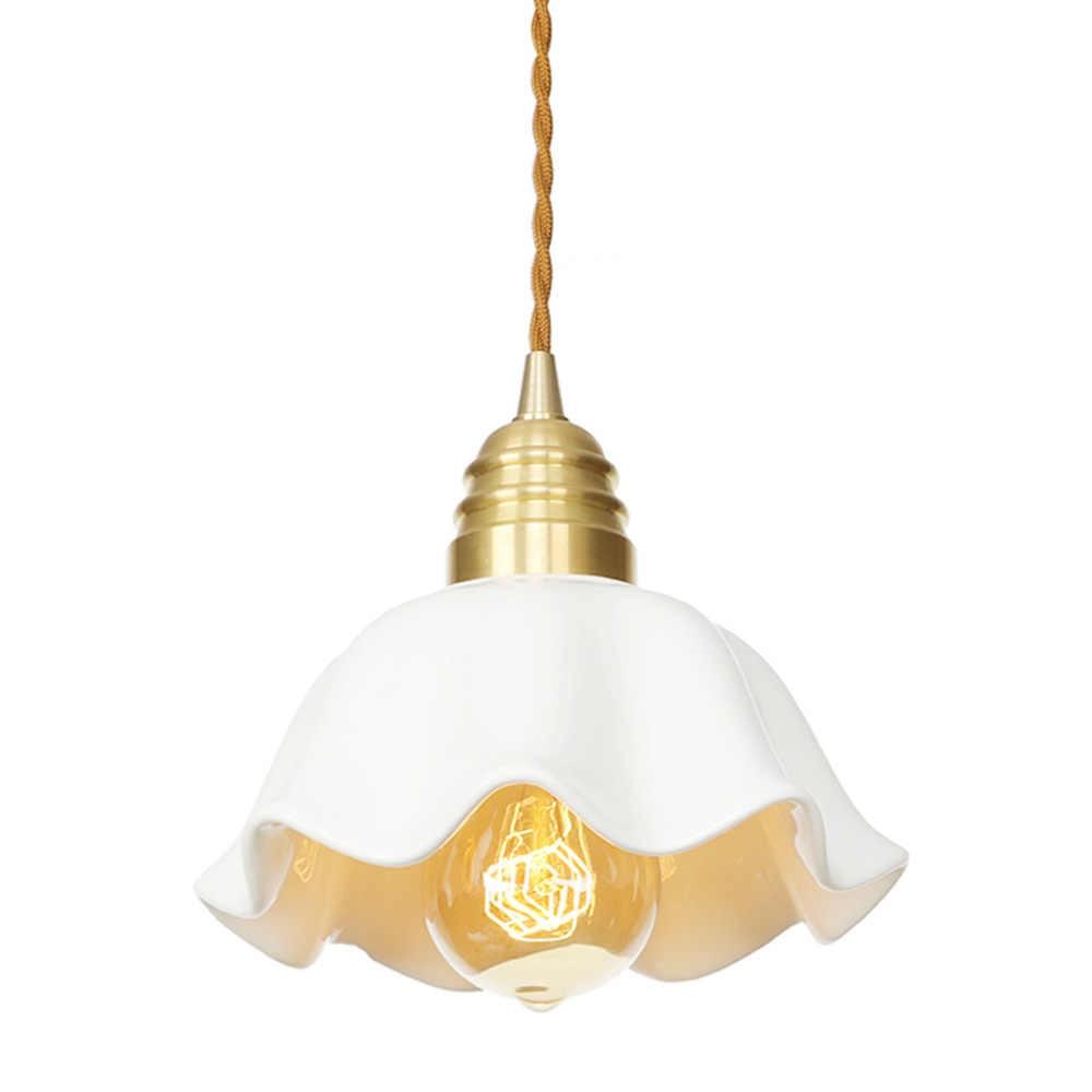 Retro Đồng LED Mặt Dây Chuyền Ánh Sáng Đèn Chùm Trang Trí Đồng Gốm Cổ Treo Đèn Công Tắc Xoay Phòng Ăn Nhà Chiếu Sáng Đèn LED