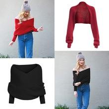 Осенний Женский вязаный свитер с v-образным вырезом, трикотаж с запахом, топ, шарф, пуловер, джемпер