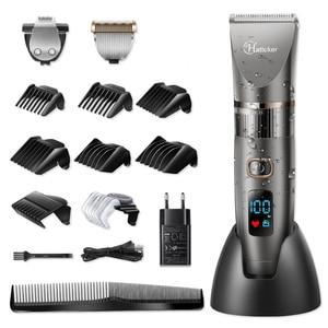 Image 3 - HATTEKER 3in1 profesyonel saç kesme makinesi su geçirmez saç giyotin erkekler tımar kiti seramik bıçak erkek LED ekran saç kesimi makinesi