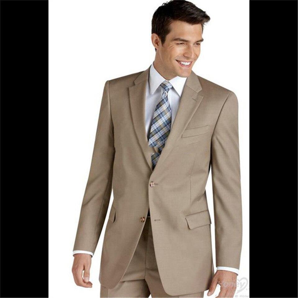Veiai Men Suit Latest Coat Pant Designs Khaki Men Suit Formal Slim Fit Blazer Masculino Simple Gentle Prom Groom Wedding Tuxedo