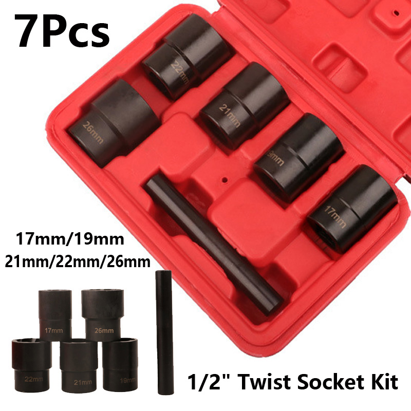 1 Set Spiral Socket Damaged Worn Lug Nut Lock Remover Bolt Extractor Set Metric Black Replacement Parts Nuts Bolts