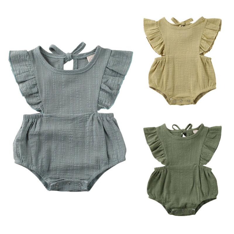 Cute Newborn Toddler Baby Girl Boys Bodysuits Clothes Cotton Blend Ruffle Short Sleeve Solid Jumpsuits Summer Outfits