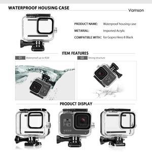 Image 4 - Vamson para gopro acessórios da câmera de ação kit caso habitação à prova dwaterproof água conjunto para go pro herói 8 preto acessório da câmera ação vs156