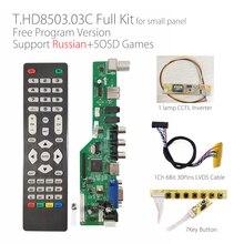 משלוח תכנית T.HD8503.03C אוניברסלי LCD TV טלוויזיה/AV/VGA/HDMI/USB מדיה + 7Key + 1ch 6bit 30p LVDS + 1 מנורת מהפך רוסית