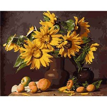 New Product Yellow Sunflower Diy Painting By Numbers Oil On Canvas Handmade Supreme Poster Wall Art