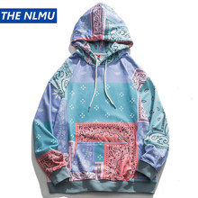 Bandana Patchwork Hoodies Sweatshirts Streetwear 2020 Autumn Mens Hip Hop Casual Hooded Pullover Hoodie Harajuku Tops WY086
