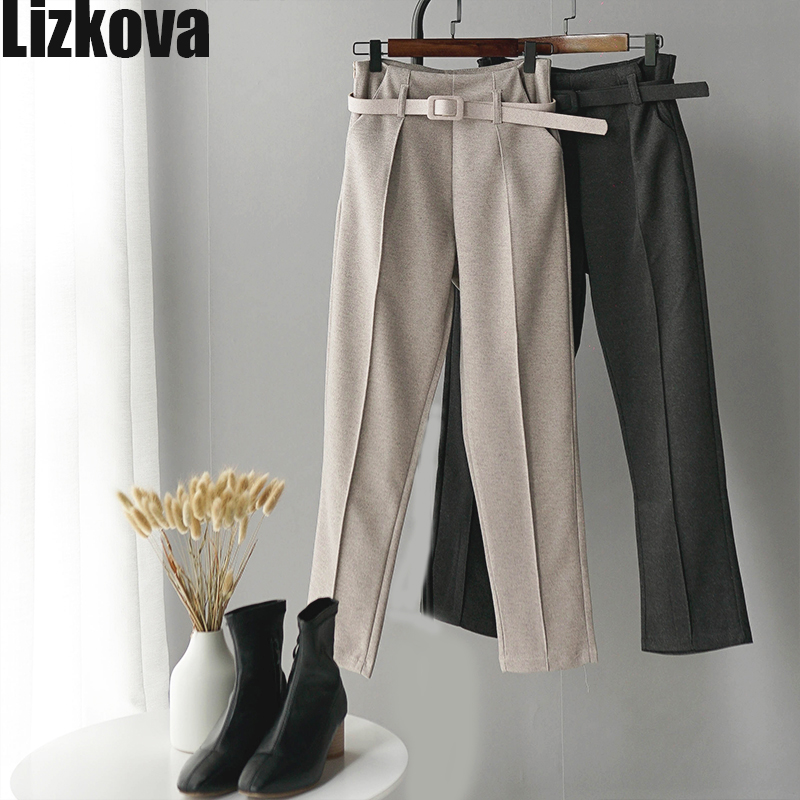 Winter Woollen Pants Women White Harem Pants With Belt Higt Waist Casual Pants Korean Style Office Pants