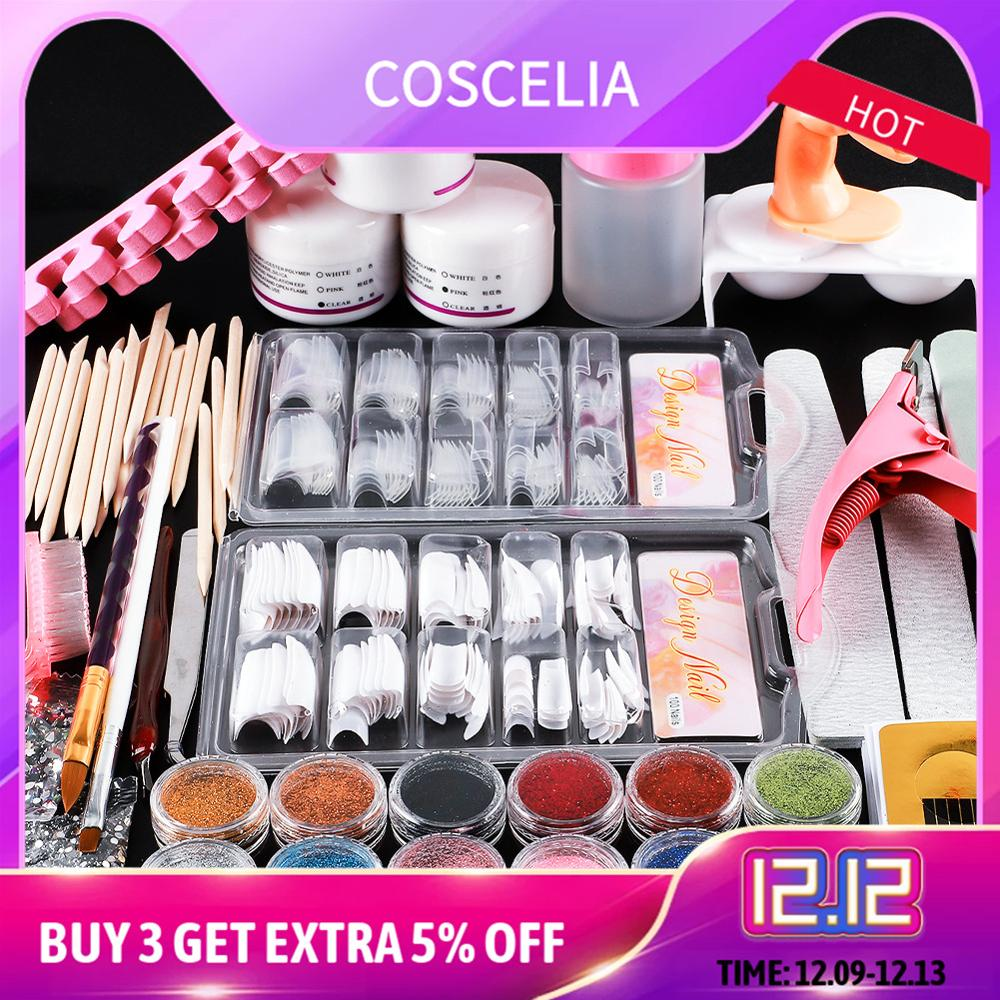 Acrylic Nail Art Manicure Kit 12 Color Nail Glitter Powder Decoration Acrylic Pen Brush False Finger Pump Nail Art Tools Kit Set