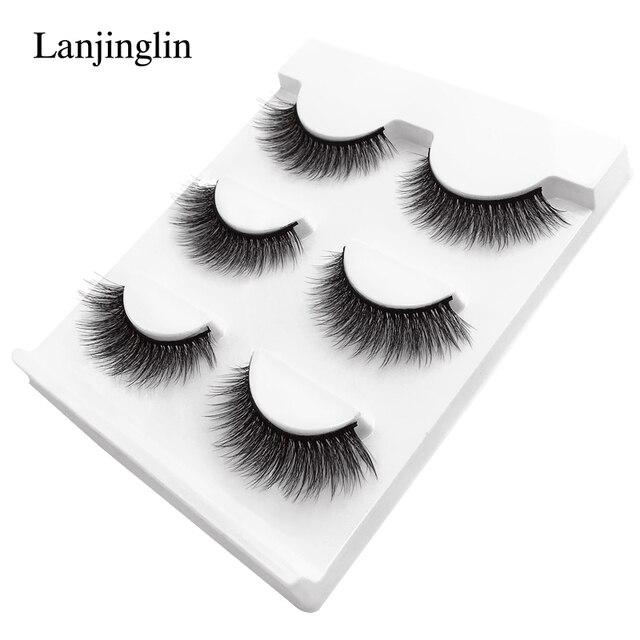 New 3 pairs natural false eyelashes fake lashes long makeup 3d mink lashes extension eyelash mink eyelashes for beauty #X11 4