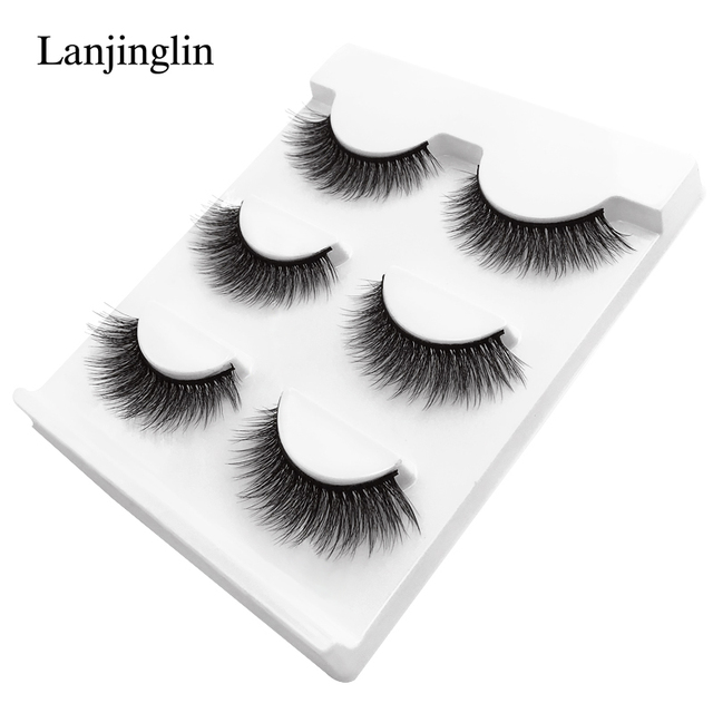 New 3 pairs natural false eyelashes fake lashes long makeup 3d mink lashes extension eyelash mink eyelashes for beauty #X11 3