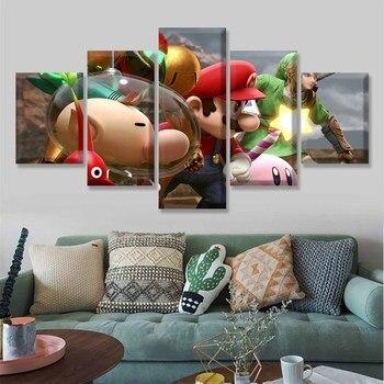 Pósteres de juegos modulares de lienzo, 5 piezas, pintura abstracta de Super Smash Bros, marco impreso, arte para decoración de pared de habitación de niños