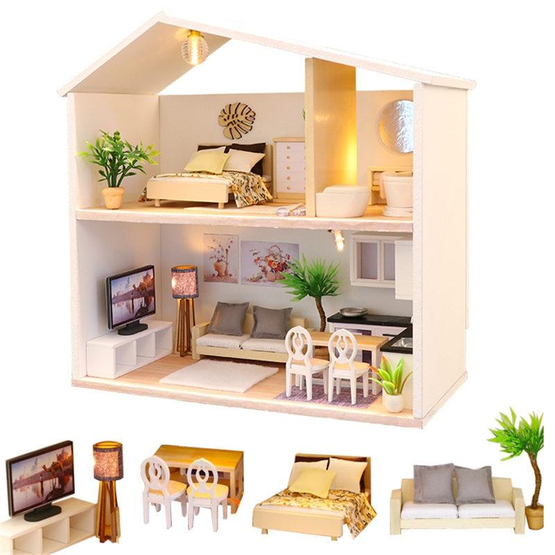Dernière 1:24 maison de poupée miniature salle de bains en bois bricolage maison de poupée enfants jouets chambre avec accessoires de cuisine jouets pour enfants
