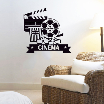 Cinema Sign Logo Wall Stickers MuralsWallRemovable Vinyl For Movie House Wall Decal Popcorn Cinematography ov309 image