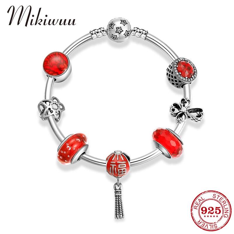 Bracelets de luxe en argent Sterling 925 avec bénédiction chinoise lanterne fleur CZ perles Bracelet pour femmes bijoux de mariage cadeaux