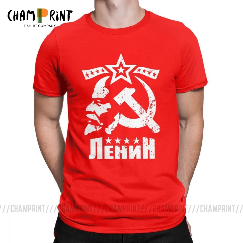 Vladimir Ilyich Lenin Men's T Shirts CCCP USSR T-Shirt Bolshevik Revolution Clothes Communism Marxism Socialism Tee Shirt