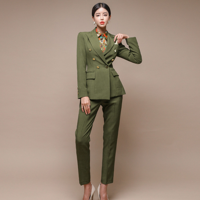 New Runway Fashion 2 Piece Set Women Business Work Wearing Pant Suits Office Lady Set Suits