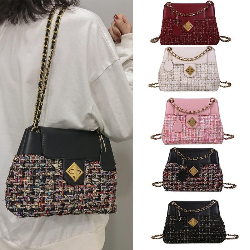 Tweed & Gold-Tone Metal Shoulder Bags For Women Wool Bucket Bag Ladies Hand Bags Female Evening Clutch Bags Luxury Bag For Girls