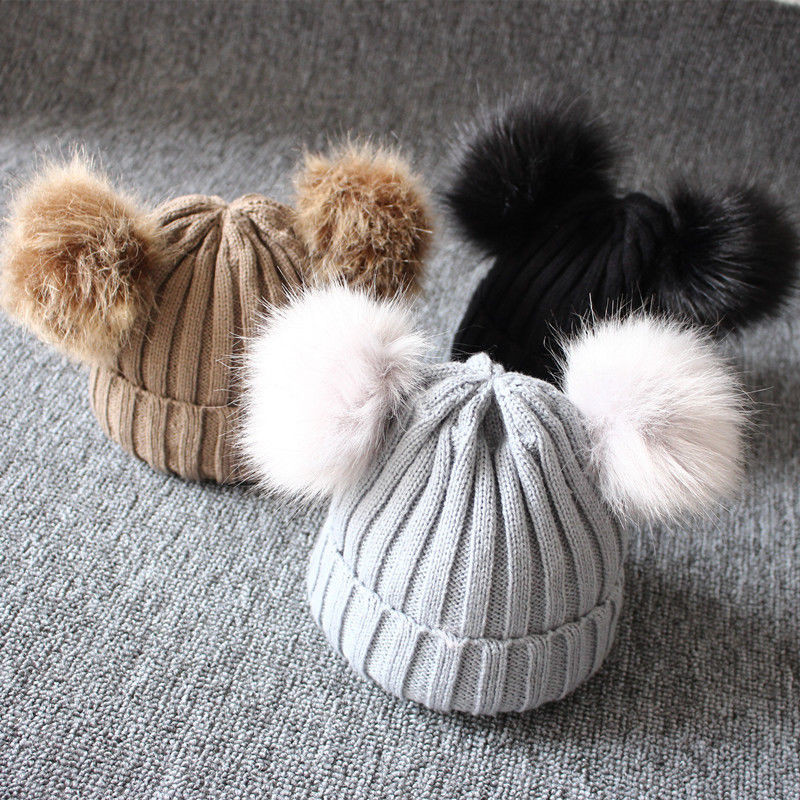 Winter-Warm-Baby-Hat-Double-Furry-Ball-Pompom-Children-s-Cap-Solid-Knit-Cap-For-Girls (1)