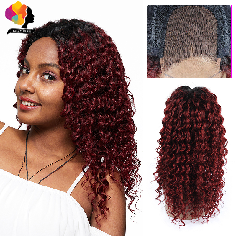 Remyblue 4*4 Lace Closure Wig Deep Wave Human Hair Lace Wig Middle Part Ombre 1B/99J/Red Burgundy Brazilian Remy Human Hair Wigs