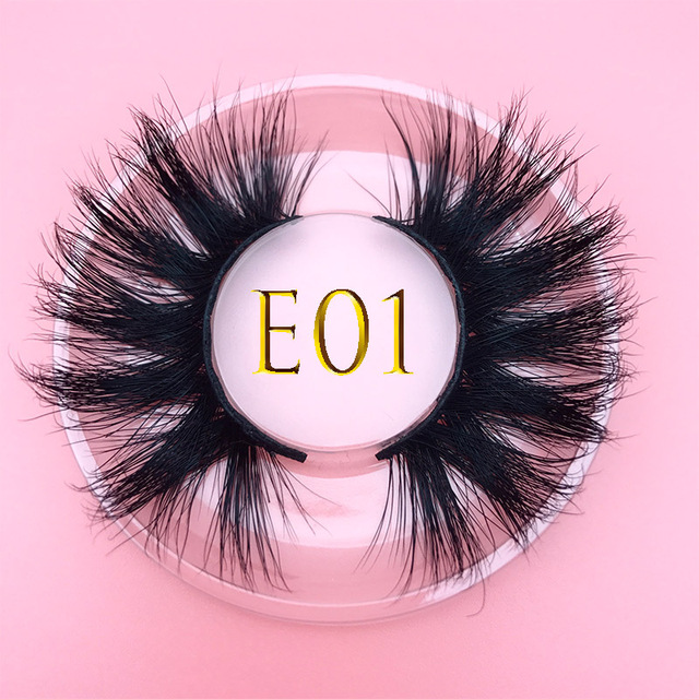 3D MIKIWI real mink lash 25mm E01 extra length and fluffy luxury mink eyelashes natural thick Eye lashes wispy makeup extention
