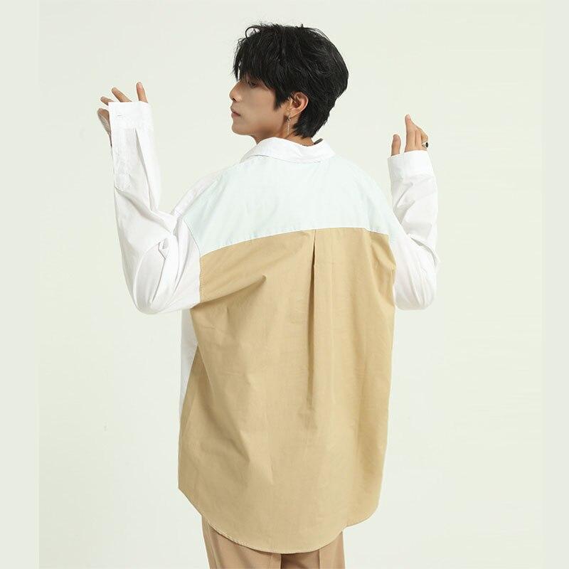 Men Streetwear Fashion Casual Long Sleeve Shirt Male Women Back Splice Loose Shirt Couple Clothing