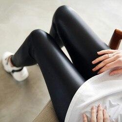 NORMOV Women Faux Leather Leggings Women Thin Black Leggings High Waist Stretchy Push Up Casual Leggins