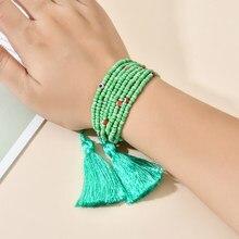 ZMZY Bohemian Multilayer Bunte Perlen Armbänder Armreifen Für Frauen Schmuck Boho Quaste Strand Charme MIYUKI Armband Geschenke Puls