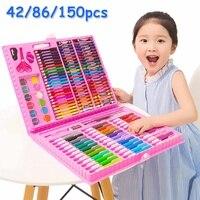 150 pièces Crayon de couleur artiste Kit peinture Crayon marqueur stylo brosse dessin outils ensemble maternelle dessin fournitures enfants Gufts