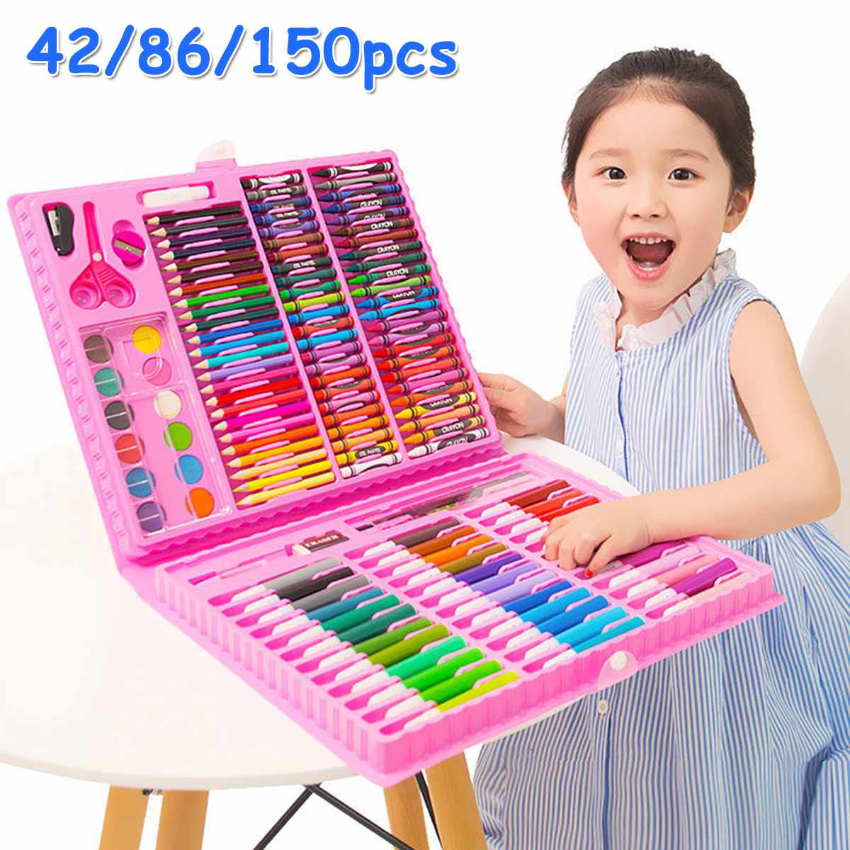 150PCS Colored Pencil Artist Kit Painting Crayon Marker Pen Brush Drawing Tools Set Kindergarten Drawing Supplies Kids Gufts