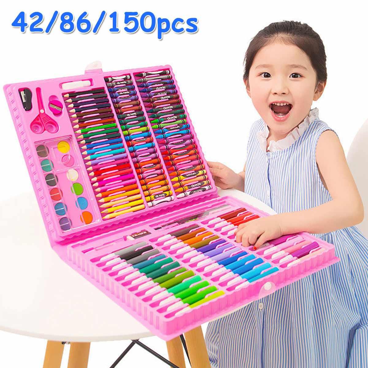 150PCS Colored Pencil Artist Kit Painting Crayon Marker Pen Brush Drawing Tools Set Kindergarten Drawing Supplies Kids Gufts