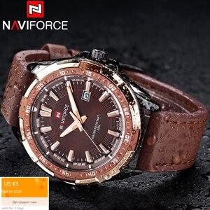 Image 2 - NAVIFORCE كرونوغراف أفضل بريندز الرجال الكلاسيكية ساعة مستديرة ساعة مزدوجة الرجال relojes hombre 2019 relogio masculino
