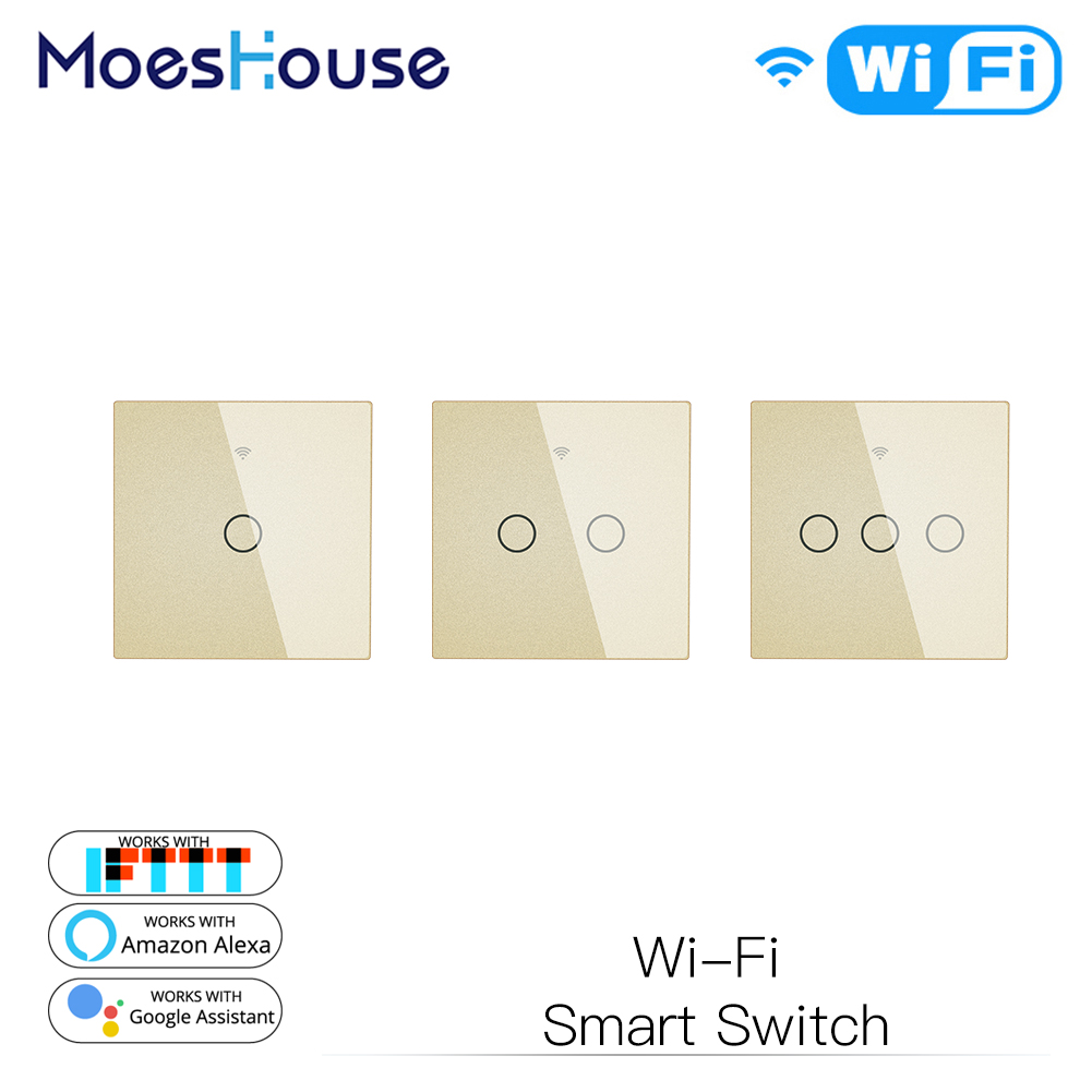 Gold WiFi Smart Wall Light Switch Glass Panel Touch Smart Life Tuya Wireless Remote Control Work With Alexa Google Home