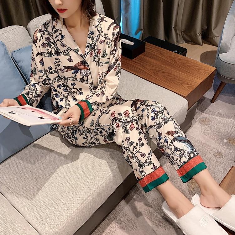 Autumn Lady Silk-like Printing Pajamas Womens Luxury Sexy Clothes Long Sleeves Satin Pajama Flowers And Birds Sleepwear 2 Piece