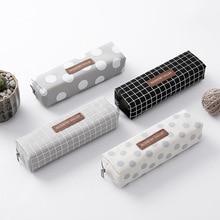 Простой клетчатый чехол для карандашей, качественный тканевый чехол для карандашей, школьные и офисные принадлежности, милые канцелярские ...