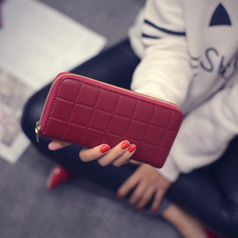 Купить с кэшбэком Female Long Wallet Red/blue/black Cellphone Bag Long Female Purse Zipper Multifunction Card Holder Wallet Fashion Women Clutch
