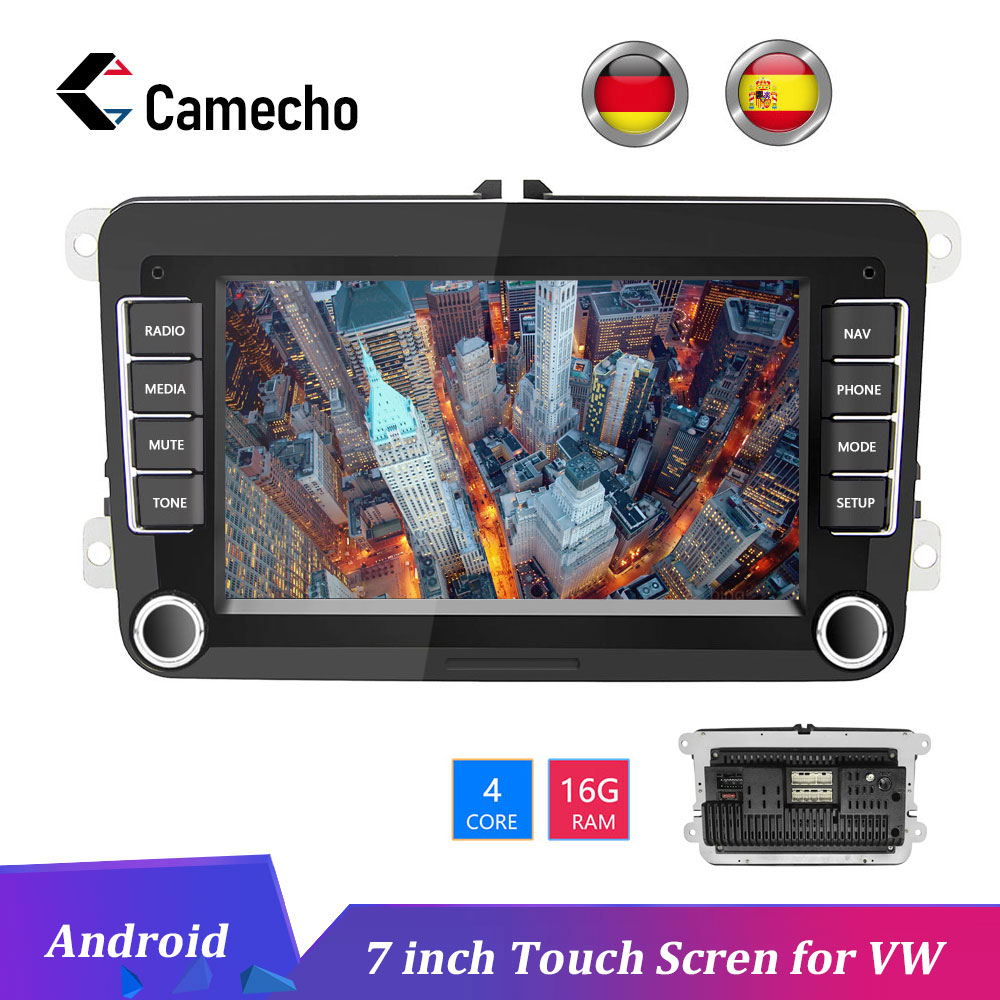 Camecho voiture Android 8.1 2 Din radio GPS Autoradio multimédia pour Volkswagen Skoda golf 5 passat B6 polo Golf 4 5 Touran Seat FM