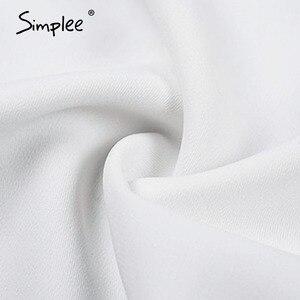 Image 5 - Simplee Blusa con manga farol para otoño e invierno, camisa blanca con cuello de pico para mujer, Blusa de gasa para oficina
