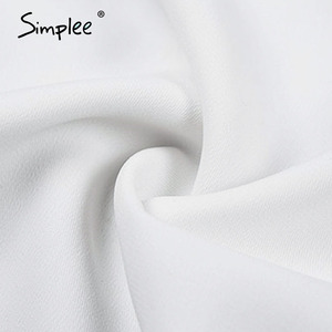 Image 5 - Simplee v ネック女性ブラウスシャツパフスリーブボタン白ブラウス秋冬女性のシャツトップ女性オフィスシフォンブラウストップス