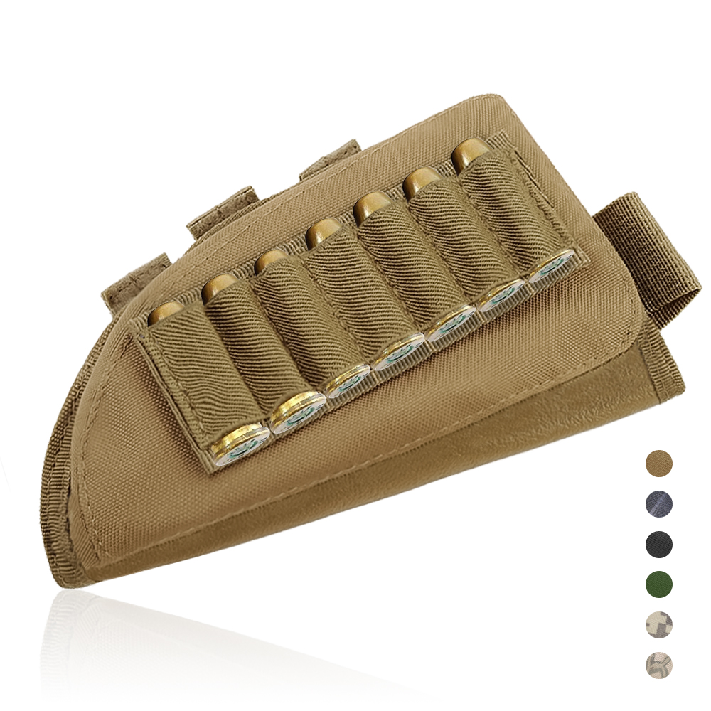 Tactical Ammo Pouch Cartridge Holder Buttstock Cheek Rest Gun Rifle Stock Ammo Portable Pouch Shell Combat Shot Hunting Gear