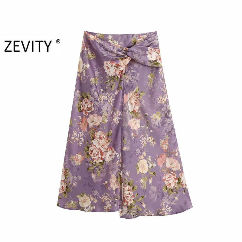 Zevity New Women Vintage knotted decoration flower print split midi skirt faldas mujer ladies back zipper casual skirts QUN661