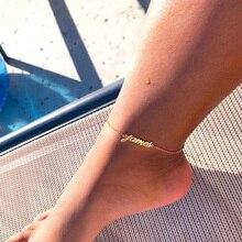 Пользовательское имя лодыжки нержавеющей стали персонализированные браслеты для женщин Boho табличке БФФ браслет ювелирных изделий tornozeleira покроя feminina