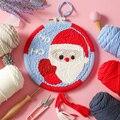 Papai noel dos desenhos animados diy punch agulha bordado kit com aro needlework ponto cruz para iniciante costura artesanato decoração de natal