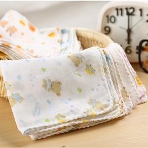 10PCS Baby Feeding Towel Teddy Bear Bunny Dot Chart Printed Children Small Handkerchief Gauze s Nursing YYT308(China)