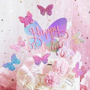 Яркие лазерные бабочки, топпер для торта «С Днем Рождения», кексы, пики для тортов, украшения для свадебной вечеринки